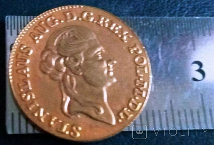 1 дукат золотом 1789 року , Польща , копія золотої не магнітний, позолота 999, фото №2