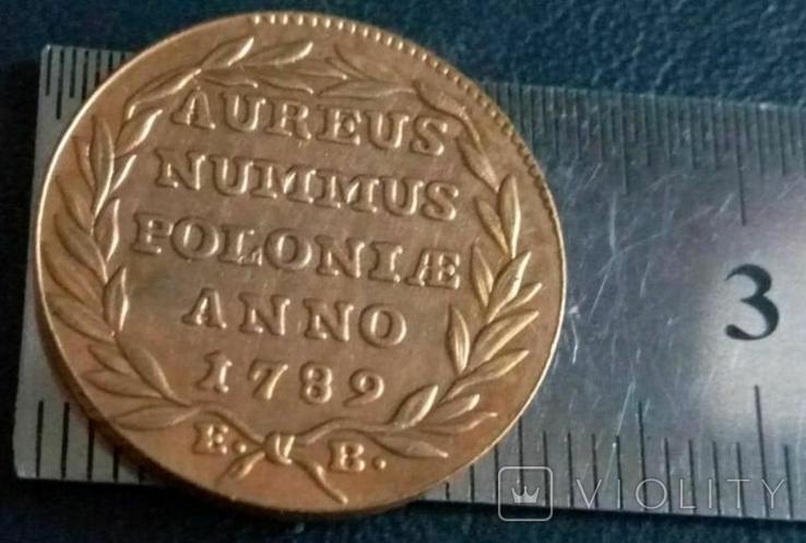 1 дукат золотом 1789 року , Польща , копія золотої не магнітний, позолота 999, фото №3
