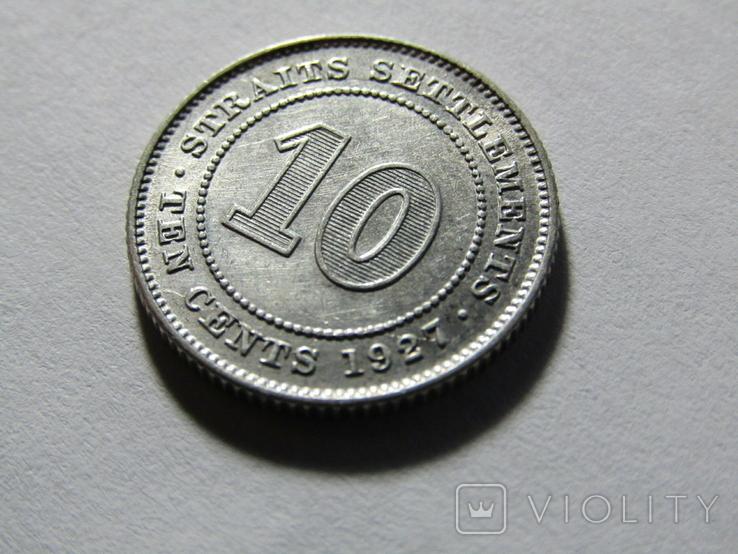 10 центов Стрейт Сеттлментс 1927, фото №3