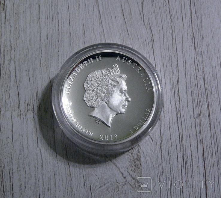 Год Змеи, 2-й Лунар - Высокий рельеф - серебро 999 унция, фото №5