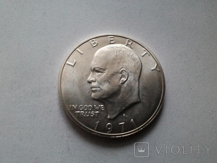 США 1 доллар 1971 S Эйзенхауэр / серебро, фото №2
