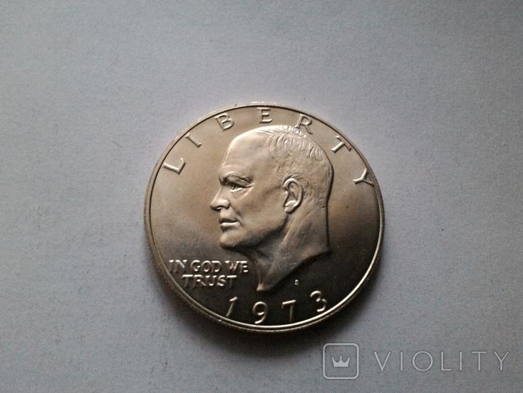 США 1 доллар 1973 S Эйзенхауэр / серебро, фото №2