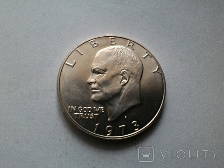 США 1 доллар 1973 S Эйзенхауэр / серебро, фото №3
