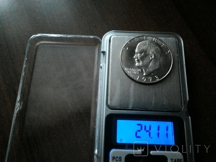 США 1 доллар 1973 S Эйзенхауэр / серебро, фото №8