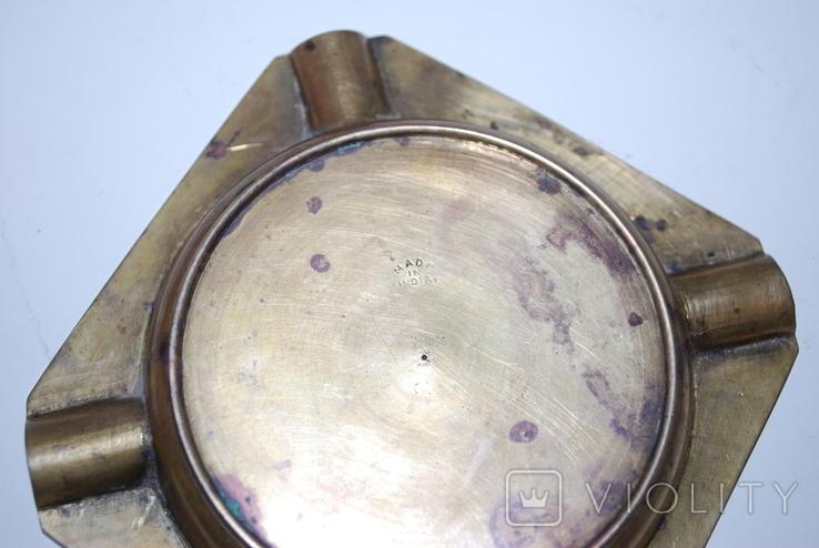Пепельница для 4-х персон, бронза, гравировка - 11х11х1,5 см./150 грамм, фото №9