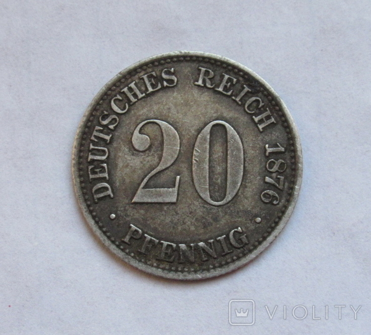 20 пфеннигов 1876 (А), Германия, серебро, фото №2