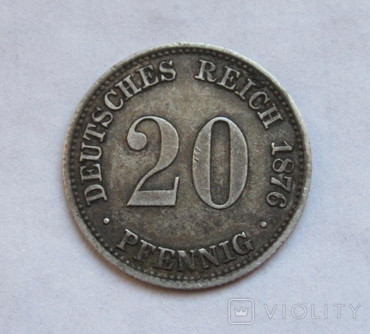 20 пфеннигов 1876 (А), Германия, серебро, фото №3