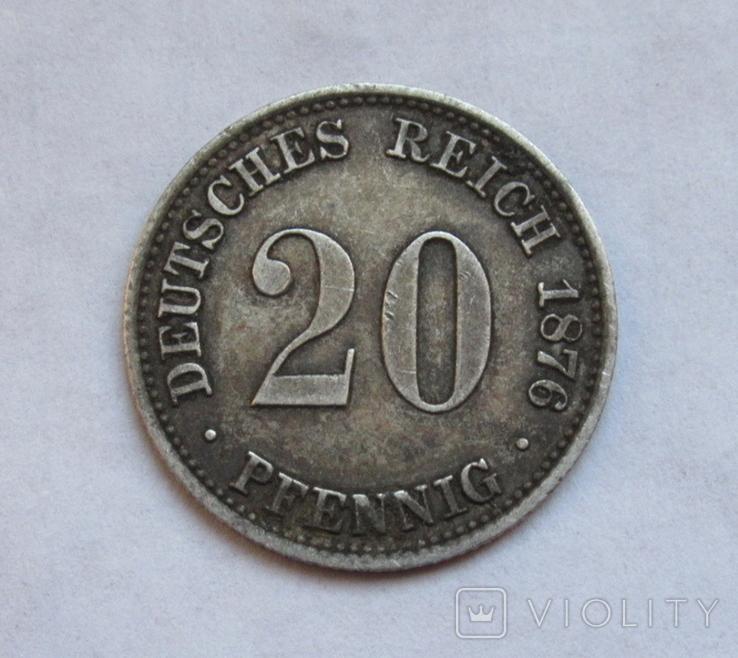 20 пфеннигов 1876 (А), Германия, серебро, фото №4