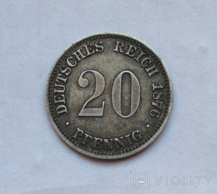 20 пфеннигов 1876 (А), Германия, серебро, фото №5