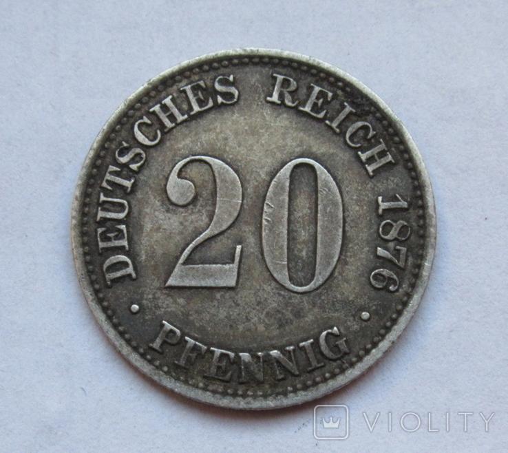 20 пфеннигов 1876 (А), Германия, серебро, фото №6