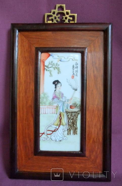 Панно - картина Девушка жрица. Рисунок на фарфоре Япония ХІХ век., фото №3