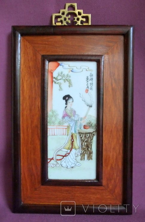 Панно - картина Девушка жрица. Рисунок на фарфоре Япония ХІХ век., фото №2