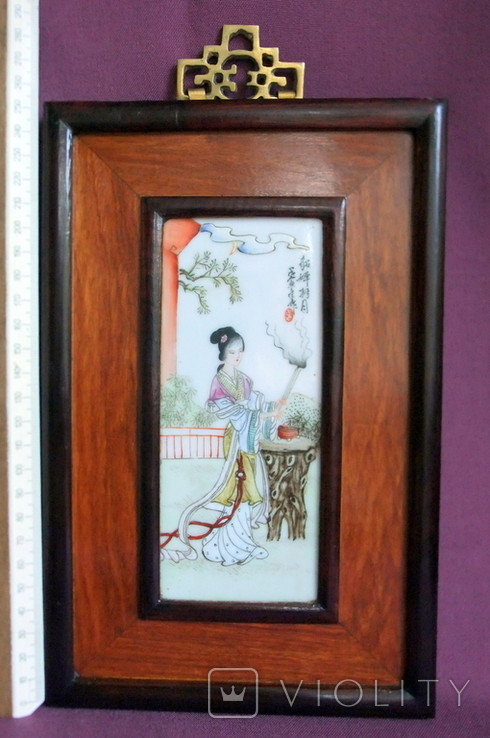 Панно - картина Девушка жрица. Рисунок на фарфоре Япония ХІХ век., фото №4