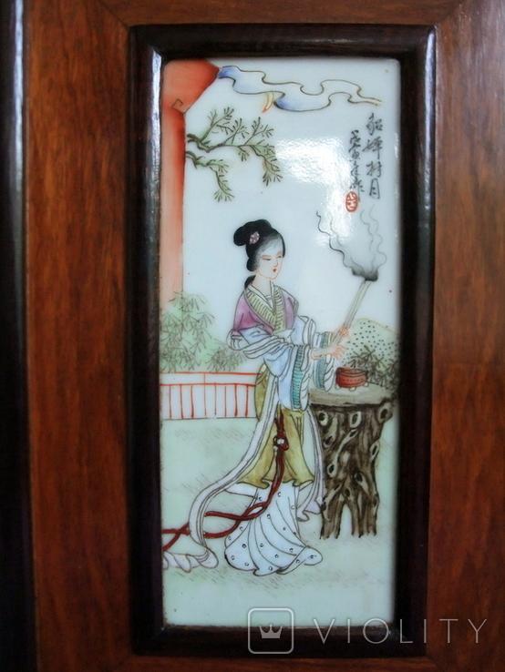 Панно - картина Девушка жрица. Рисунок на фарфоре Япония ХІХ век., фото №5