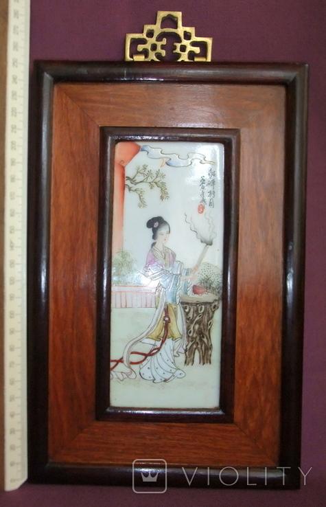 Панно - картина Девушка жрица. Рисунок на фарфоре Япония ХІХ век., фото №6