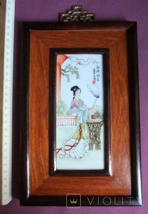 Панно - картина Девушка жрица. Рисунок на фарфоре Япония ХІХ век., фото №7