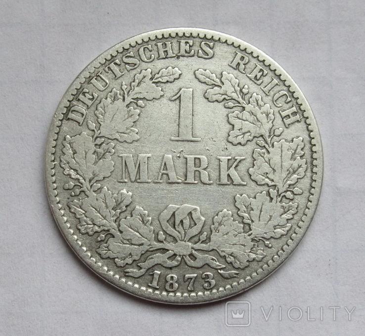 1 марка 1873 г. (А) Германия, серебро, фото №2
