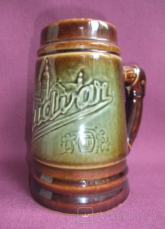 Кружка для пива Настоящий Budvar - БУДВАР крепкое пиво. Чехословакия 60-70е годы., фото №2