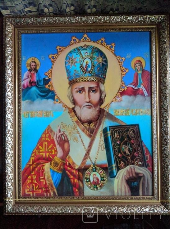 Икона писаная маслом, Святой Николай Чудотворец, фото №3