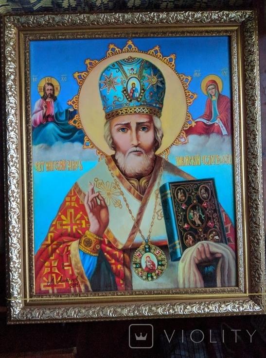 Икона писаная маслом, Святой Николай Чудотворец, фото №4