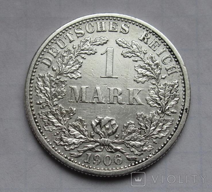 1 марка 1906 г. (F) Германия, серебро, фото №2
