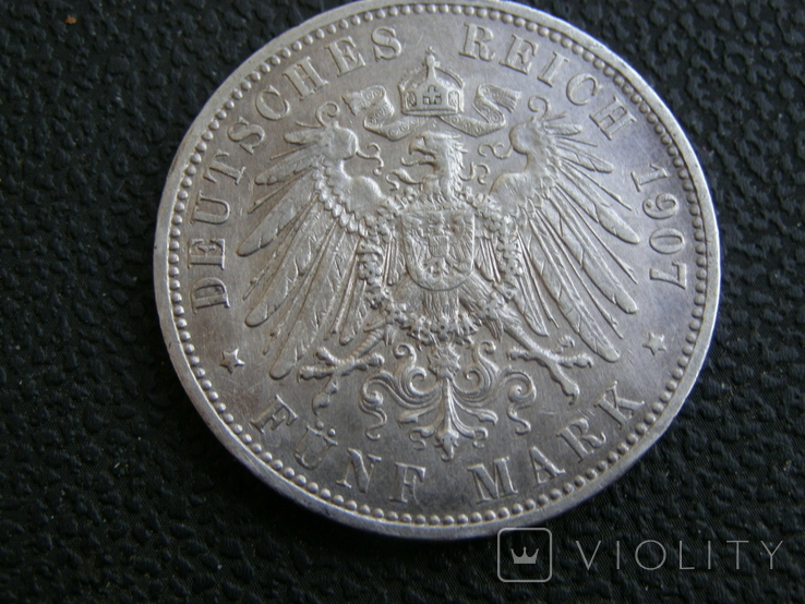 5 марок 1907 А Пруссия, фото №5