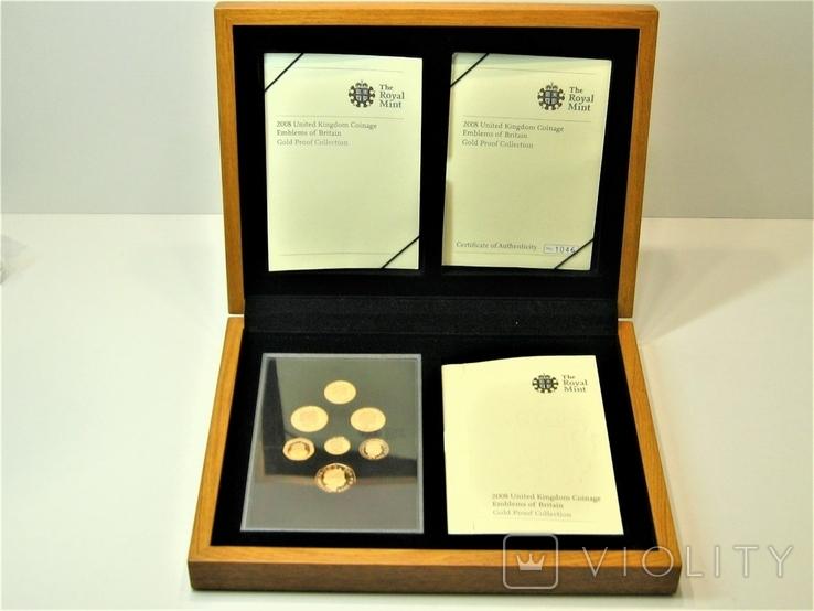 Набор золотых монет Эмблемы Великобритании 2008 г.