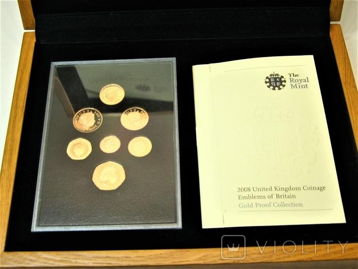 Набор золотых монет Эмблемы Великобритании 2008 г., фото №9