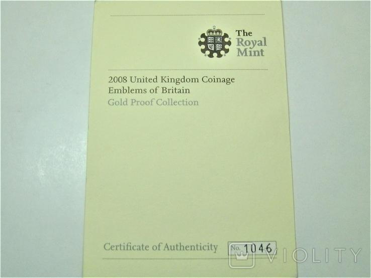 Набор золотых монет Эмблемы Великобритании 2008 г., фото №12