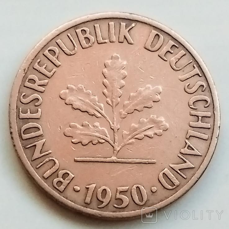 1 пфенниг 1950 г. ФРГ, Штутгарт, фото №3