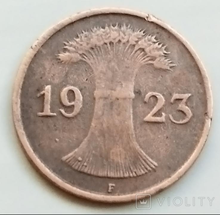 1 рентенпфенниг 1923 г. Веймарская республика, Штутгарт, фото №2