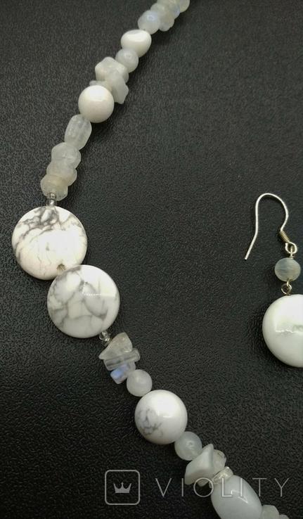 Колье Серьги Белая Яшма Лунный Камень Серебро, фото №7