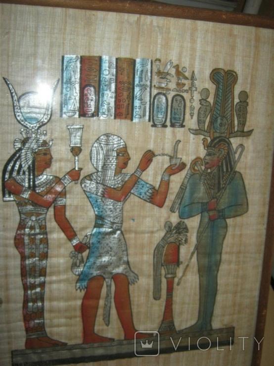 Современный египетский папирус в рамке под стеклом, фото №5