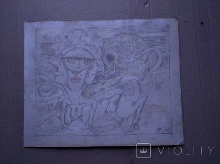 """Графика""б.кар. 25х30. Сергей Тронов., фото №2"