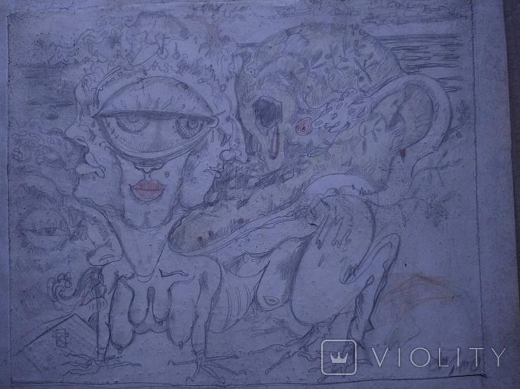 """Графика""б.кар. 25х30. Сергей Тронов., фото №3"