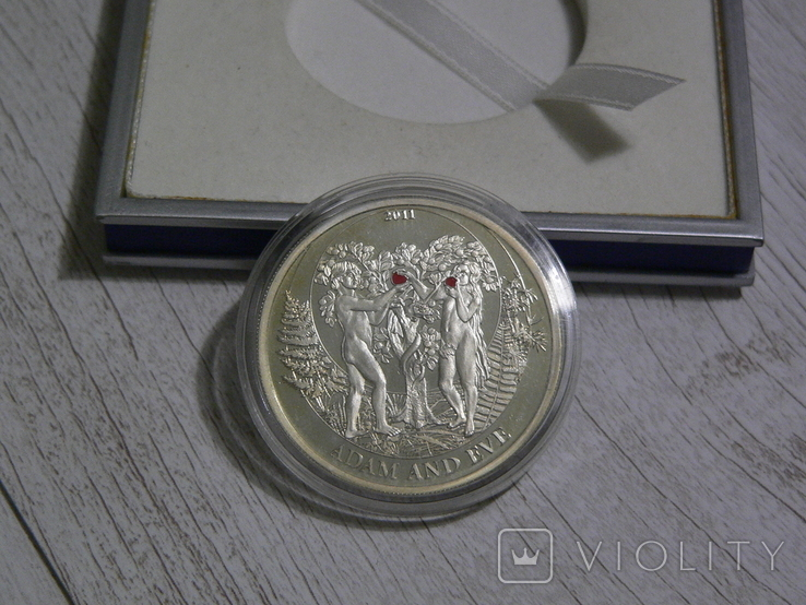 БИБЛЕЙСКИЕ ИСТОРИИ - Адам и Ева - серебро, 2 доллара Палау, фото №8