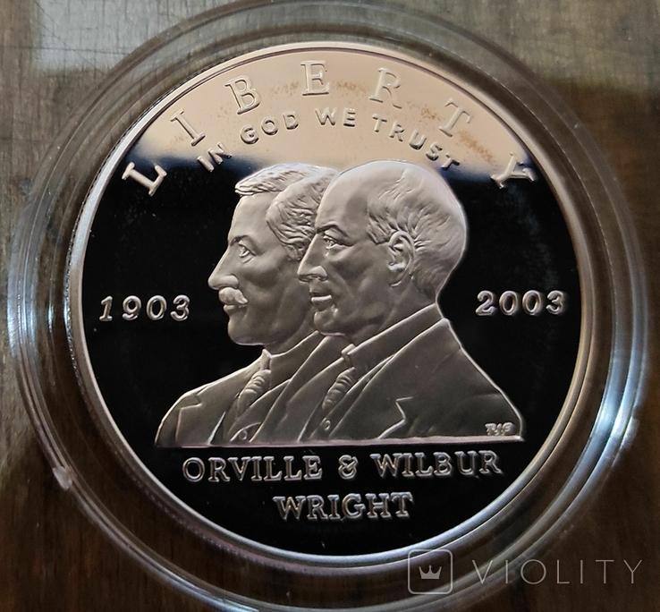 США 1 доллар 2003 г. Уилбераи Орвилла Райт. Самолёт.  Серебро. Пруф, фото №3