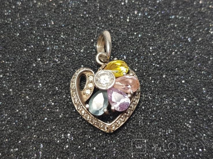 Кулон сердце серебро 925, фото №3