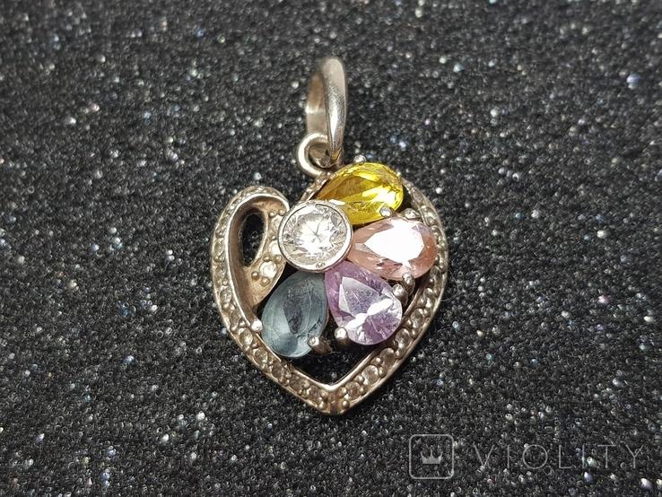 Кулон сердце серебро 925, фото №4