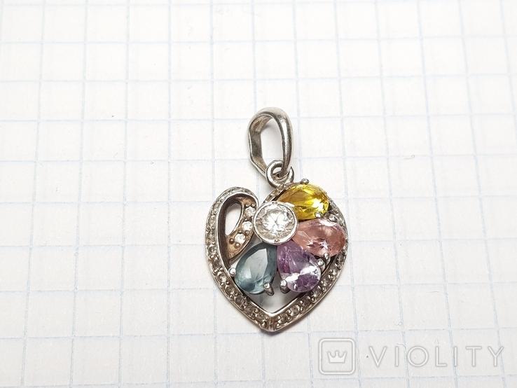 Кулон сердце серебро 925, фото №5