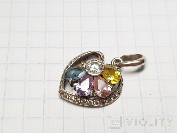 Кулон сердце серебро 925, фото №6