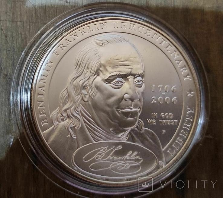 США 1 доллар 2006 г. 300-летие Бенджамина Франклина 1706-2006 гг.  Серебро., фото №2
