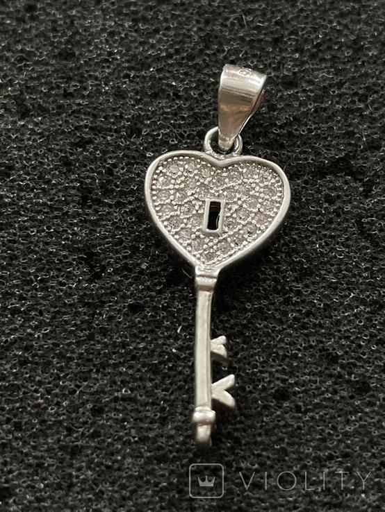 Серебряная подвеска в виде ключа, фото №2