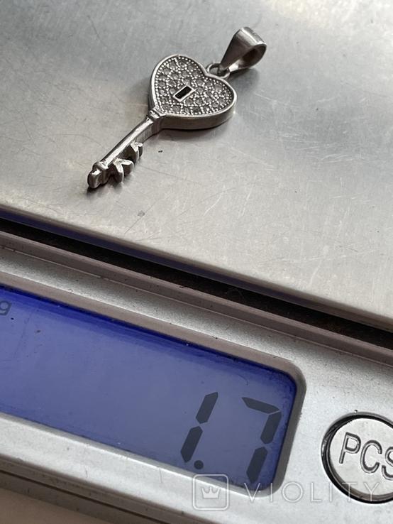 Серебряная подвеска в виде ключа, фото №4