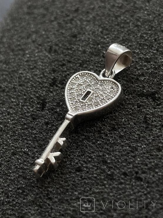 Серебряная подвеска в виде ключа, фото №5