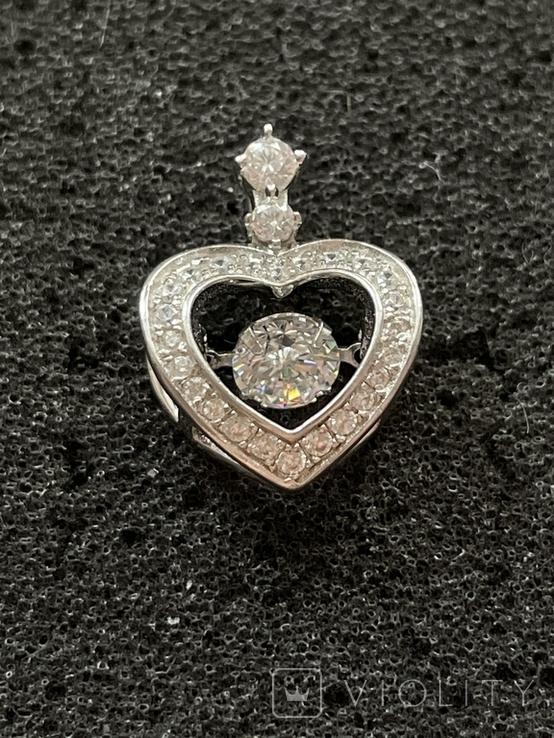 Серебряная подвеска в виде сердца, фото №3
