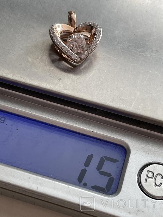Серебряная подвеска в виде сердца, фото №5
