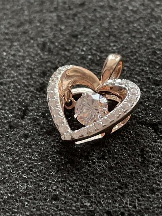 Серебряная подвеска в виде сердца, фото №6