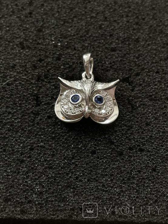 Серебряная подвеска в виде совы, фото №2