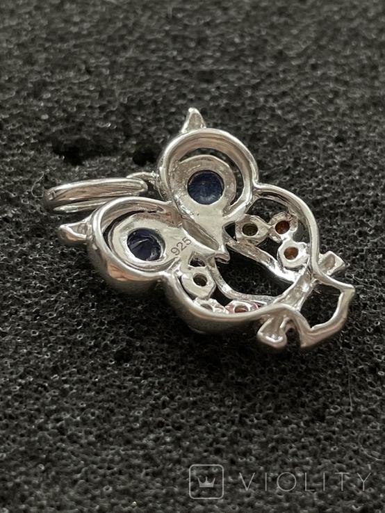 Серебряная подвеска в виде совы, фото №4